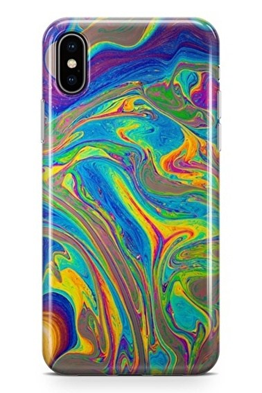 Lopard iPhone Xs Max Kılıf Silikon Arka Kapak Koruyucu Ebruli Desenli Full HD Baskılı Renkli